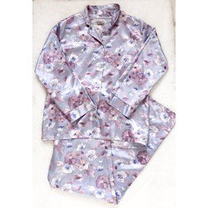 Jessica Satin Silky Purple Floral Pajama Set Sz SM